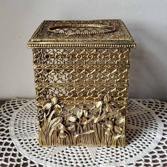 Vintage Gold Tone Metal Square Tissue Box Cover